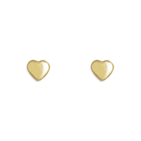 9ct Gold heart stud earrings complete with presentation box