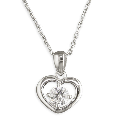 Silver Cubic Zirconia heart pendant and chain complete with presentation box