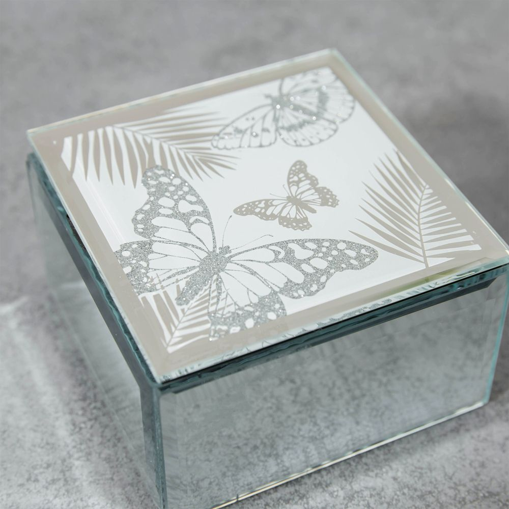 Mirrored square Butterfly design Trinket Box