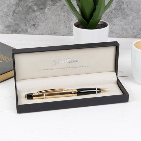 Stratton Black and Gold Ballpoint Pen complete with Gift Box