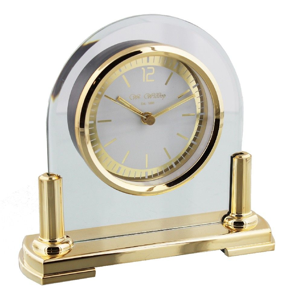 Gold and Glass Mantel Clock, 1 Year Guarantee