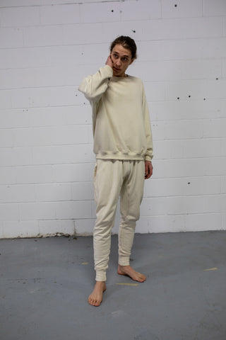 IVORY FRENCH TERRY CONTRAST JOGGER