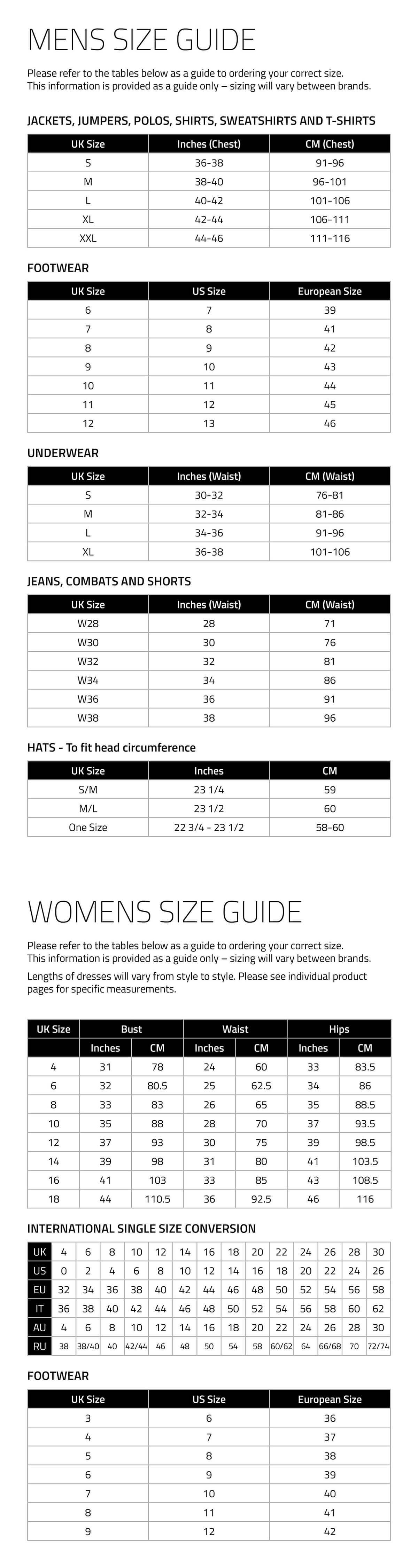 UK Size Guide - Men's, Women's, Kid's Clothing, Footwear, Underwear - Size Chart: EU, USA, International equivalents for UK sizes