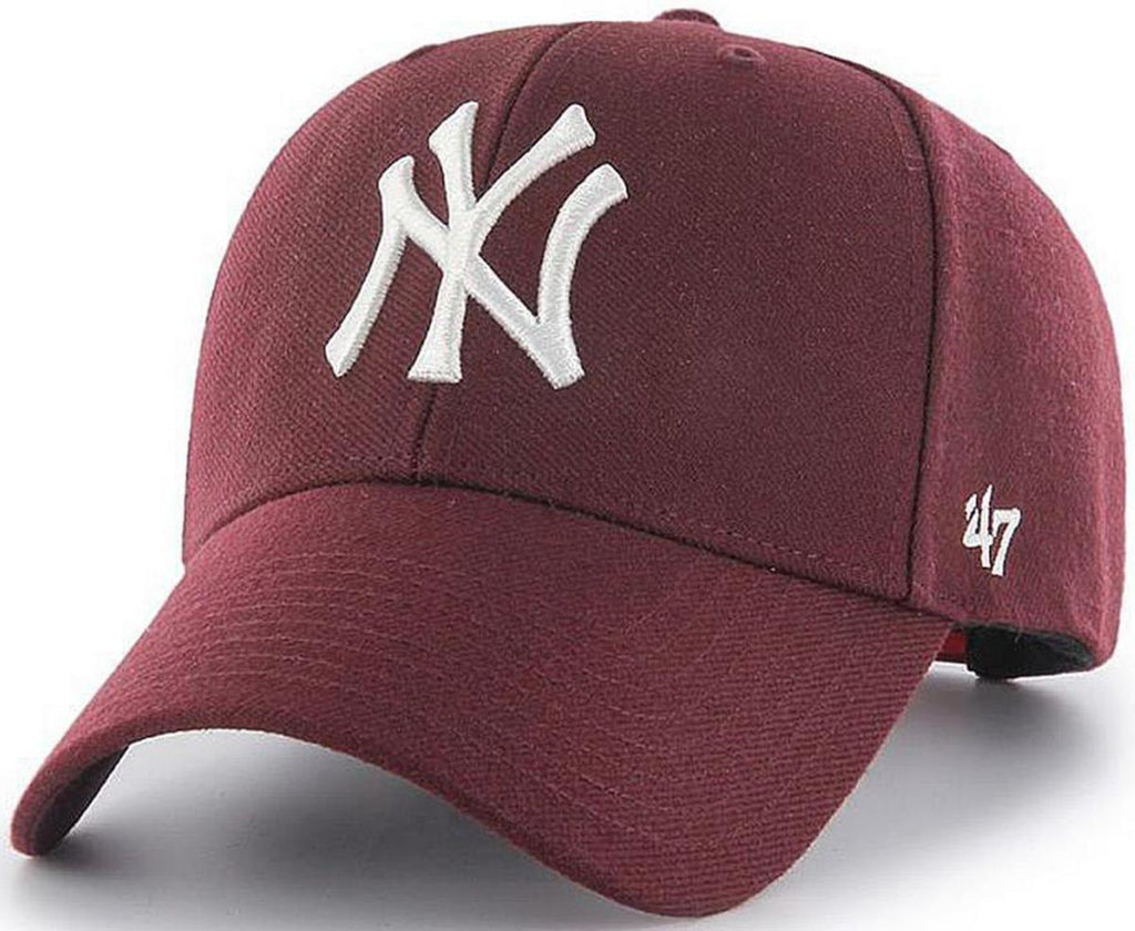 47 Brand New York Yankees MVP Adjustable Baseball Cap Burgundy