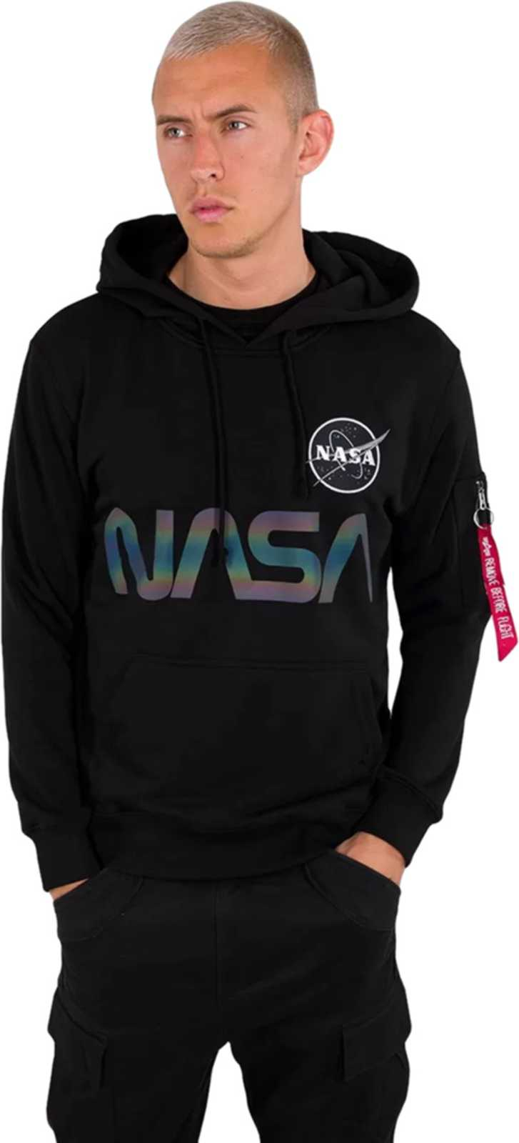 Alpha Industries NASA Rainbow Reflective Hoodie Black