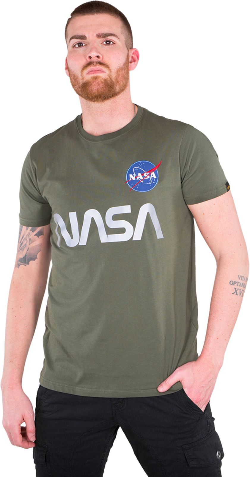 Alpha Industries NASA Reflective T-Shirt Khaki