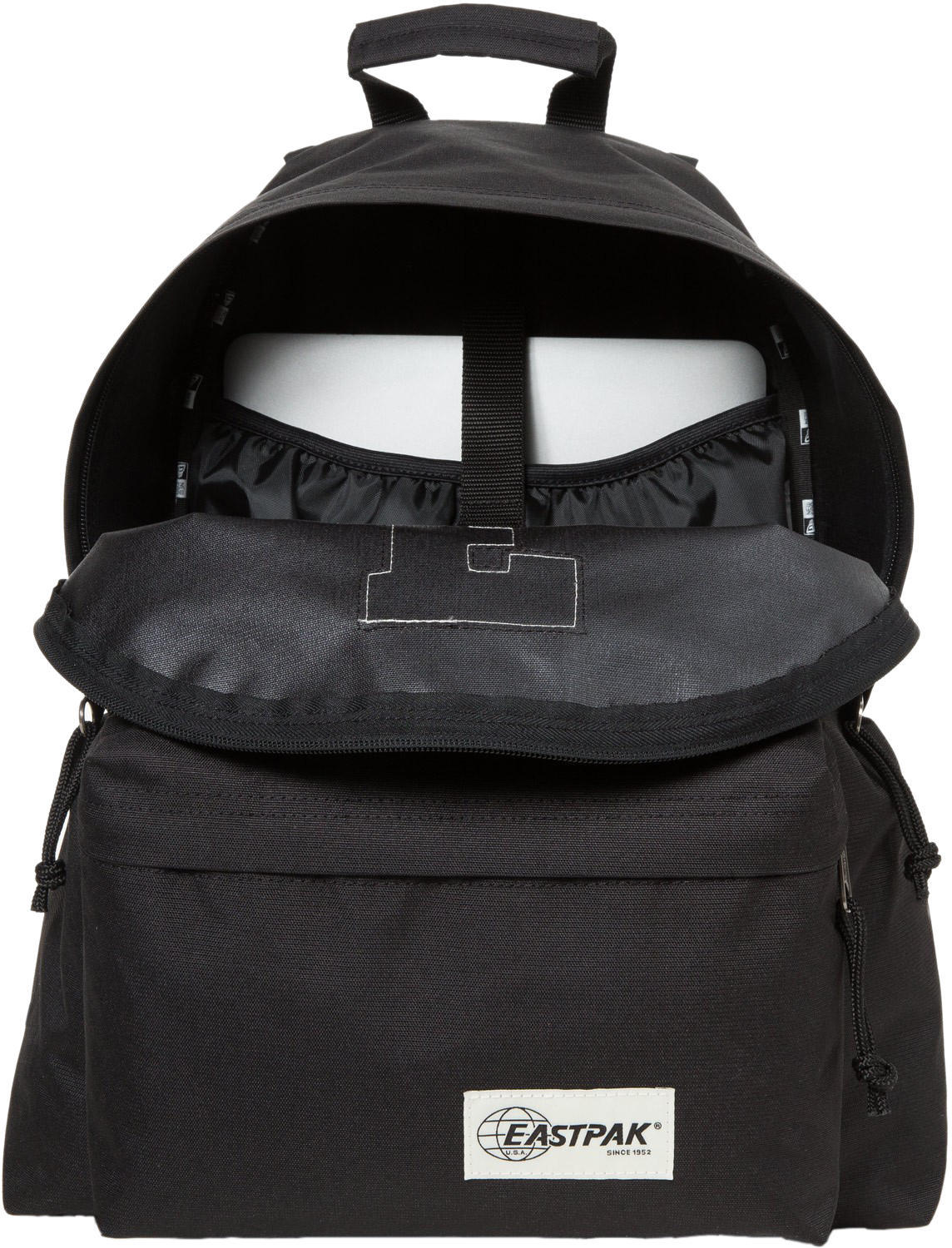Eastpak Padded Pak R Leather Backpack In Black For Men: Eastpak Padded Pak'R Backpack Rucksack Bag