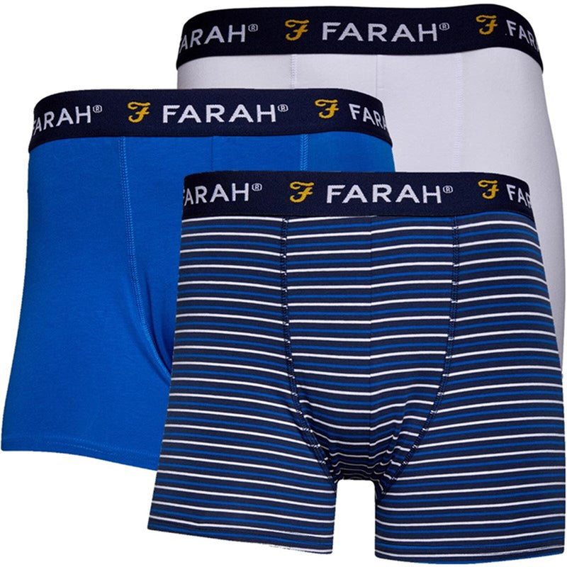 Farah Hove 3 Pack Trunk Boxer Shorts Blue