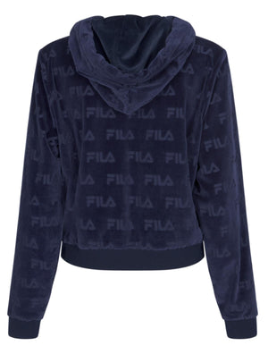 Fila Abha All Over Burnout Logo Hoodie Blue