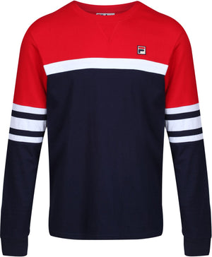 Fila Baden Colorblock Long Sleeve T-Shirt Navy