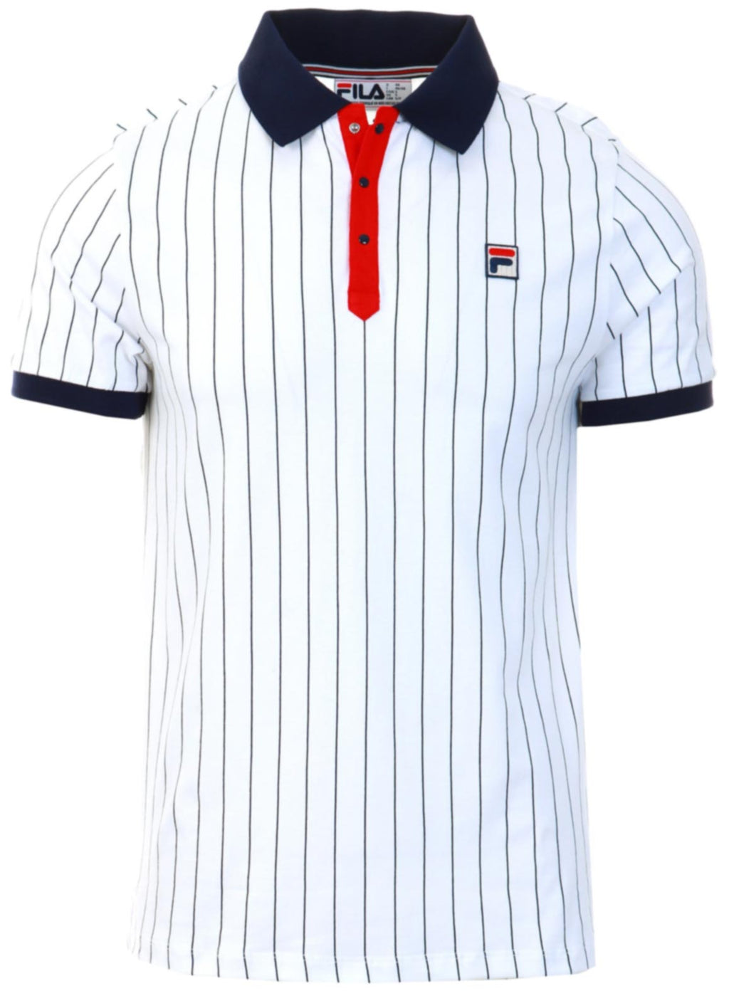 Fila Classic Vintage Striped Polo Shirt White