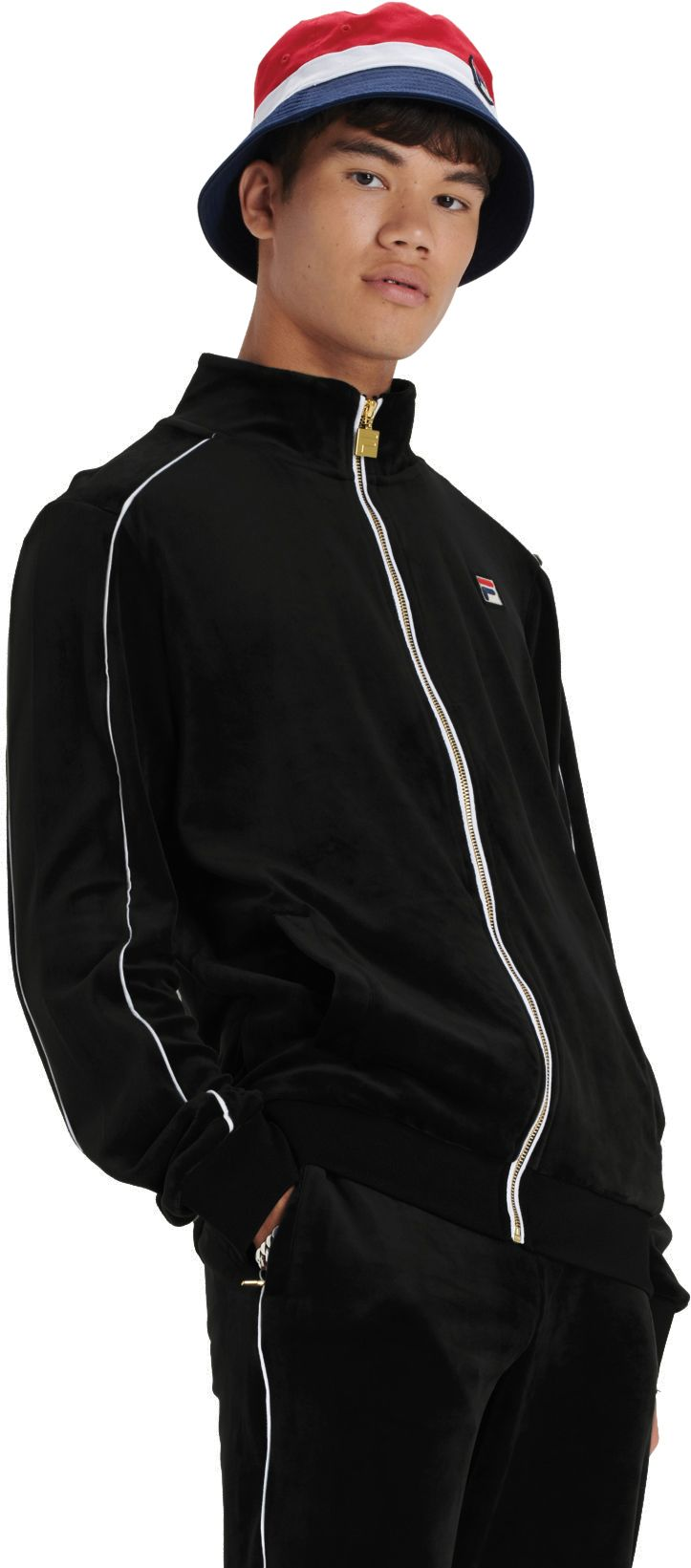 Fila-Lineker-Zip-Front-Velour-Track-Top-Black