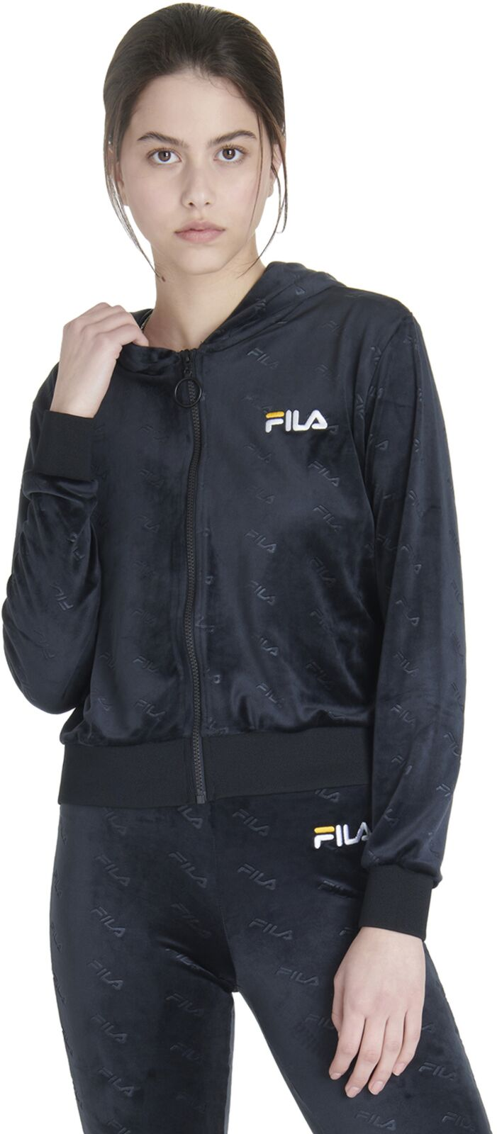 Fila Women's Cipriana All Over Print Hoodie Black
