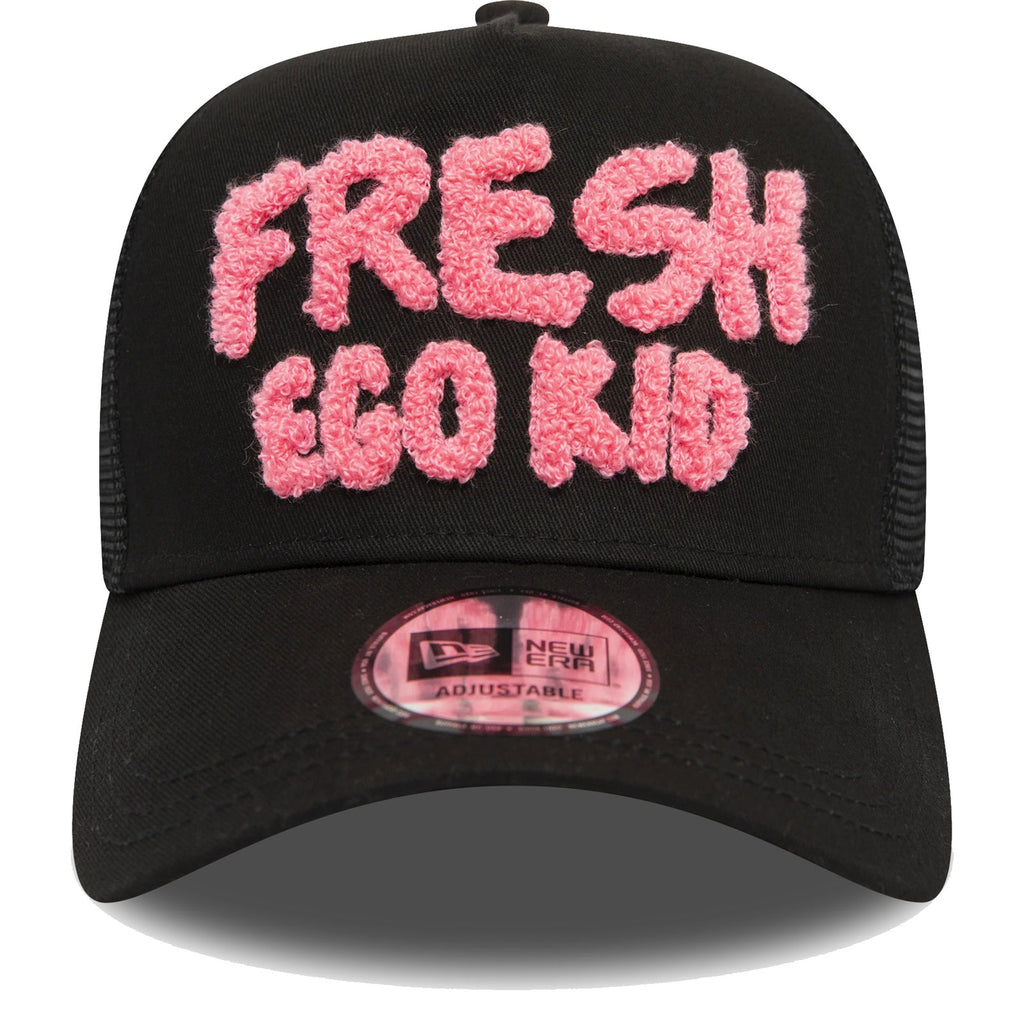 Fresh Ego Kid Chenille Mesh Trucker Baseball Cap Black