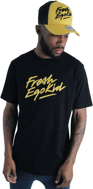 Fresh Ego Kid Script Logo T-Shirt Black/Yellow