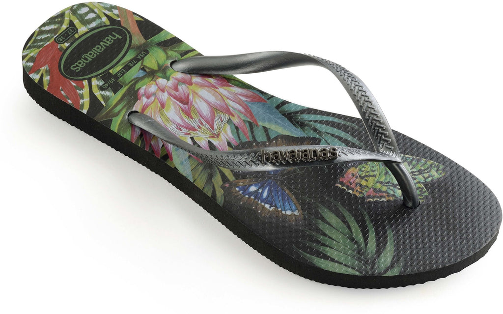 Havaianas Slim Tropical Flip Flops Black