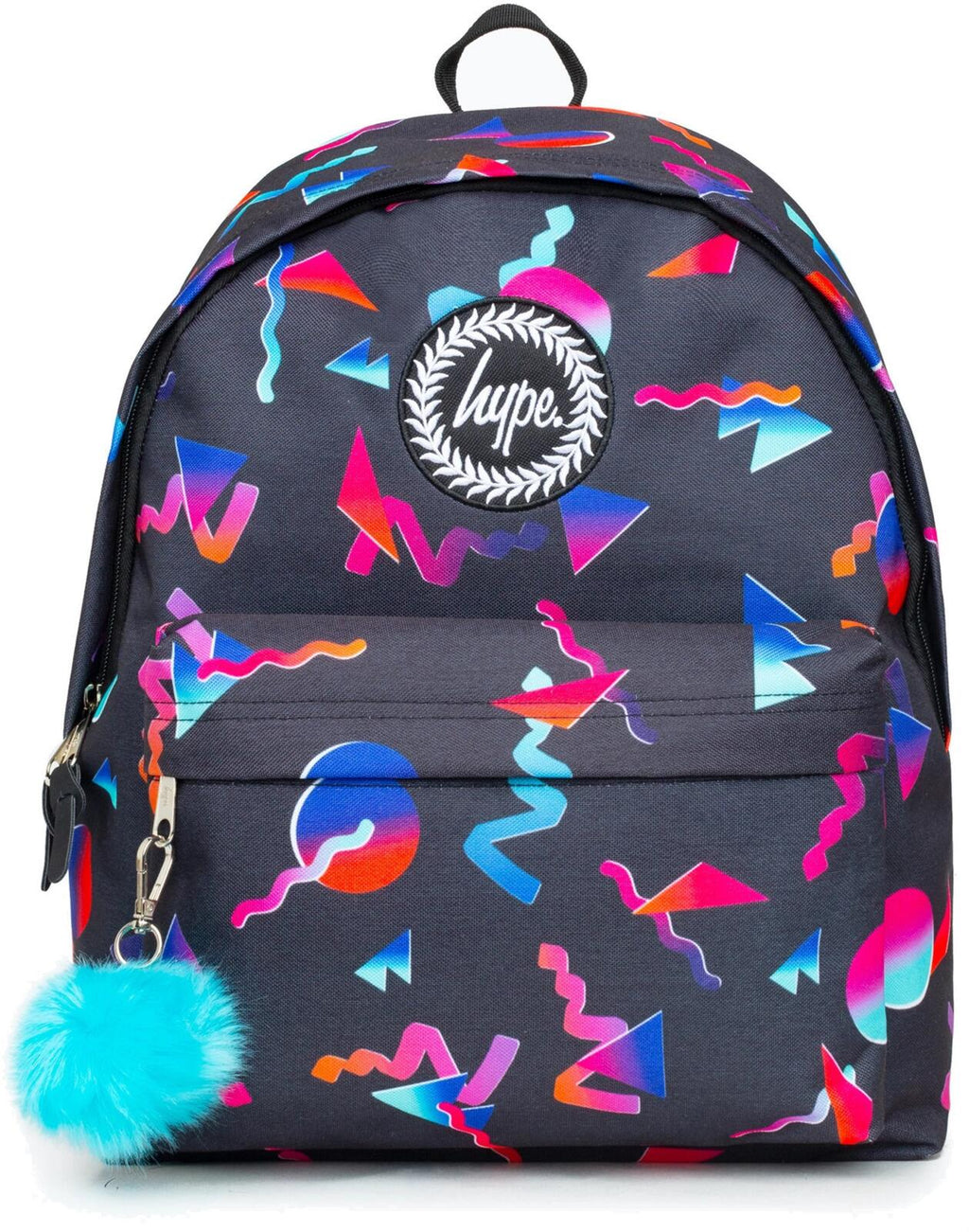 Hype Disco Neon Shapes Pom Pom Backpack Bag Black