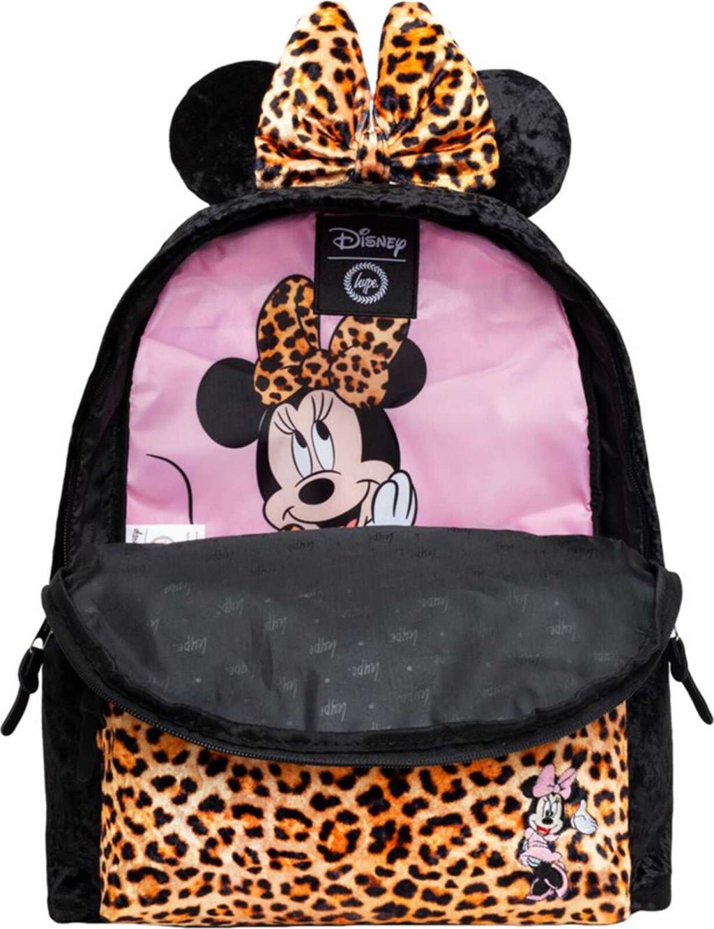 Hype Disney Minnie Leopard Backpack Bag Black