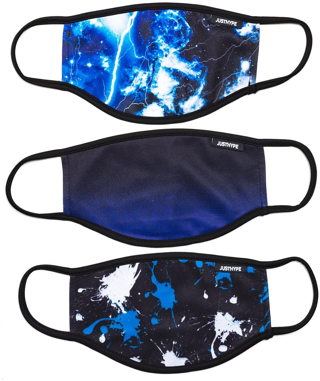 Hype Face Mask 3 Pack Adult Splat Galaxy Multi