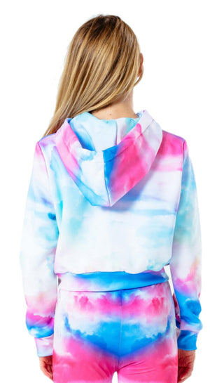 Hype Kids Cloud Fade Crop Hoodie Multi