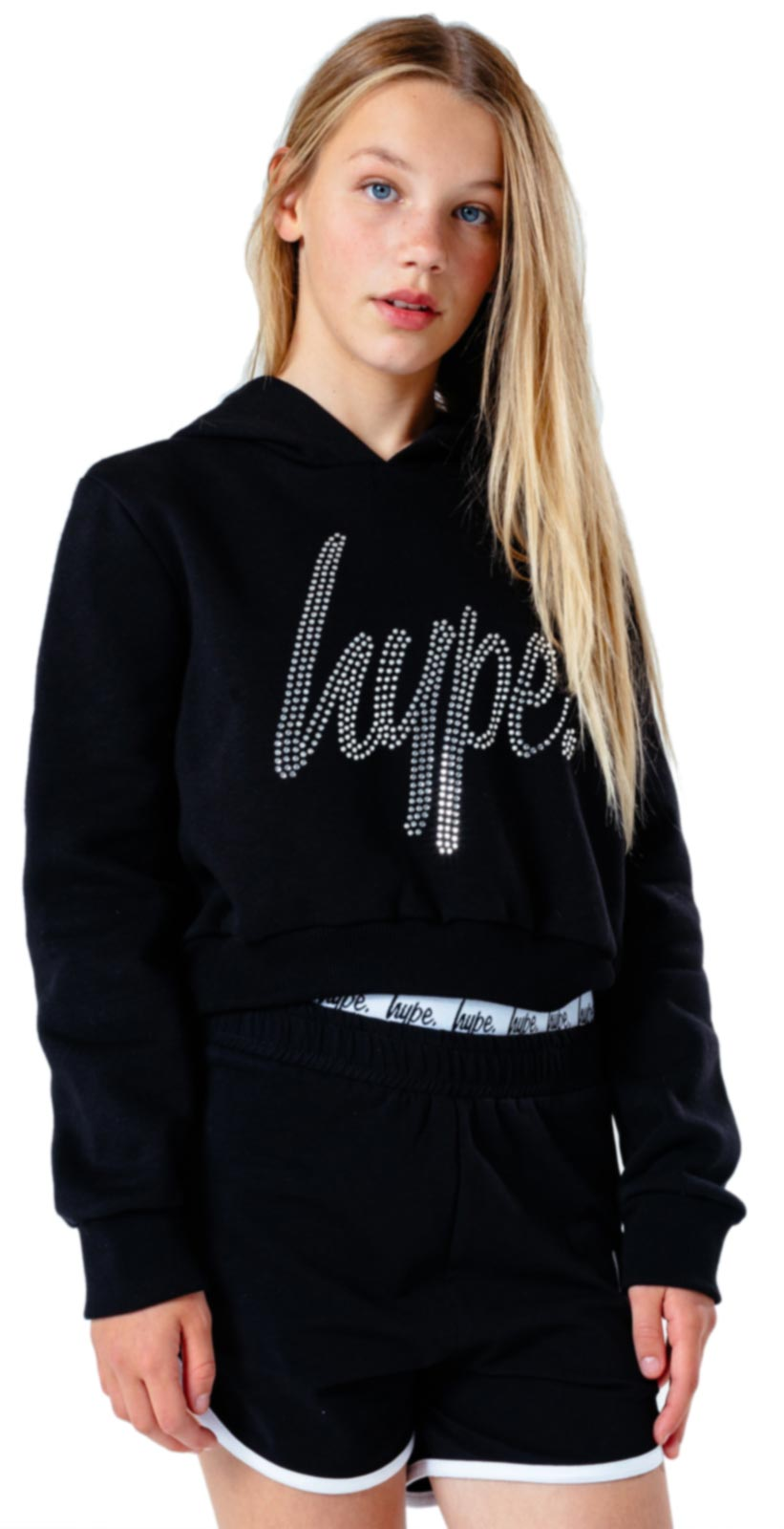 Hype Kids Diamante Script Crop Hoodie Black