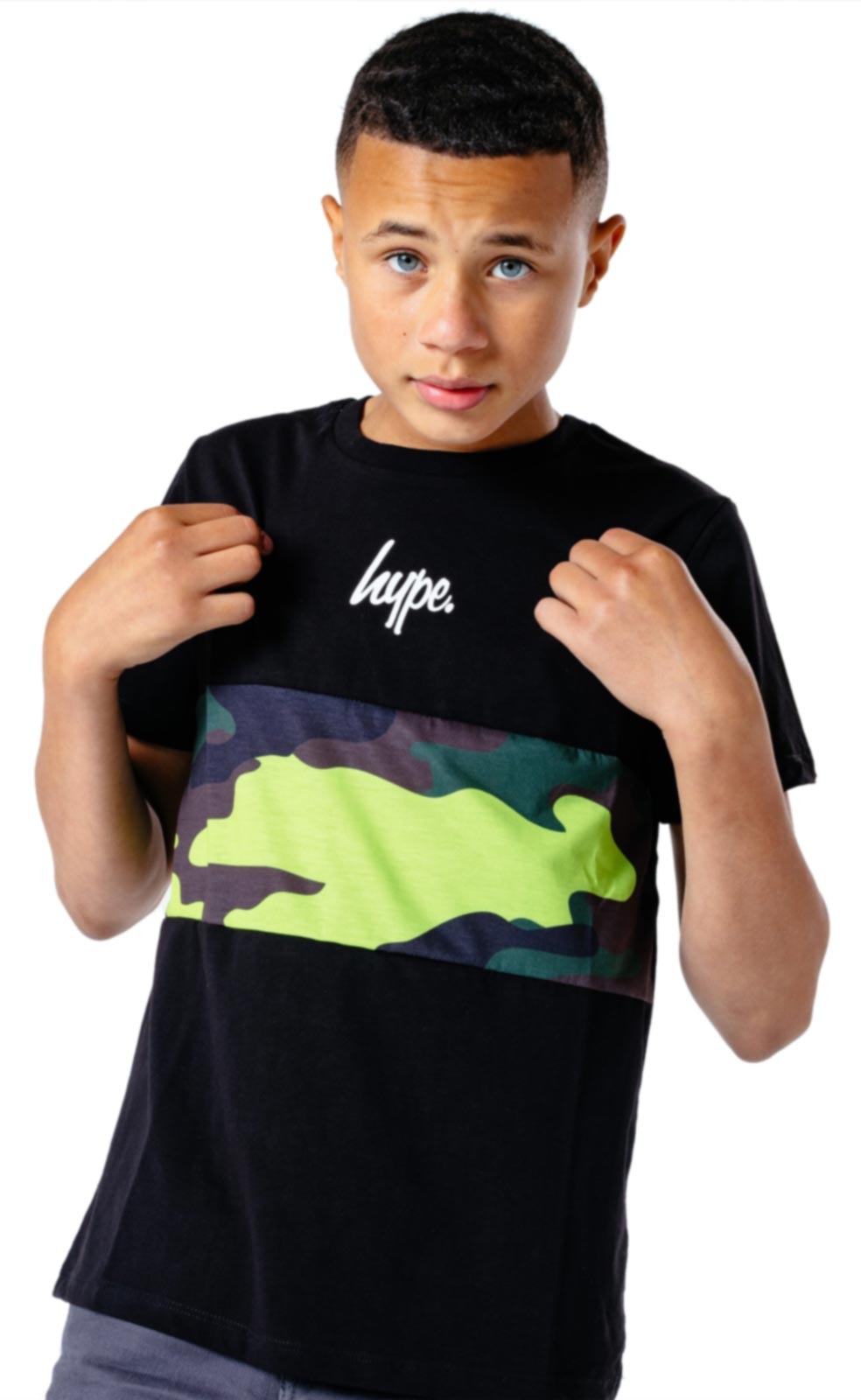 Hype Kids Neon Camo T-Shirt Black