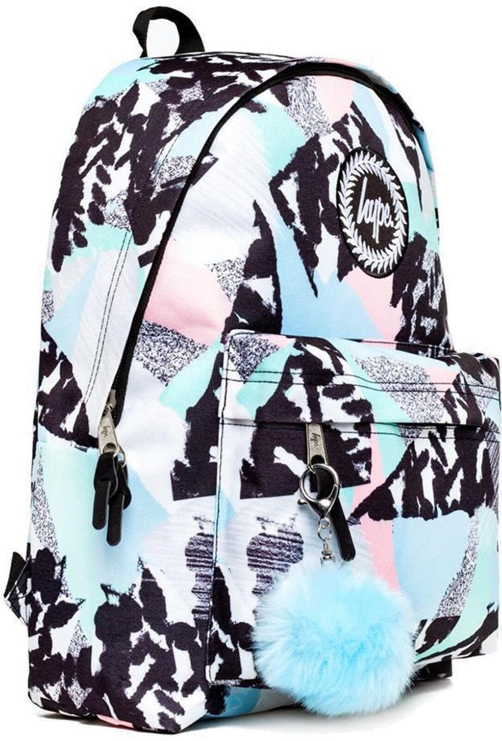 Hype Pastel Abstract Pom Pom Backpack Bag Blue