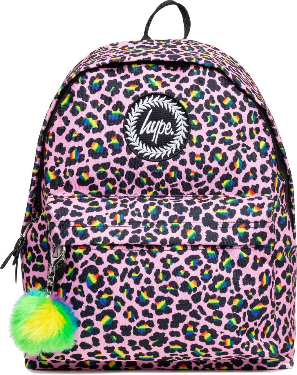 Hype Rainbow Leopard Pom Pom Backpack Bag Pink