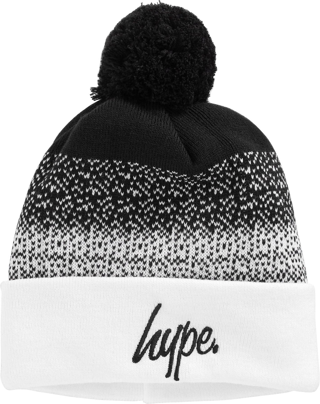 Hype-Speckle-Fade-Script-Bobble-Beanie-Hat-Black-White