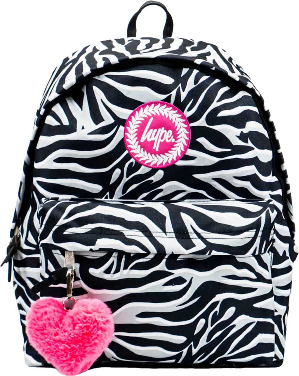 Hype Zebra Print Pom Pom Backpack Bag Black/White