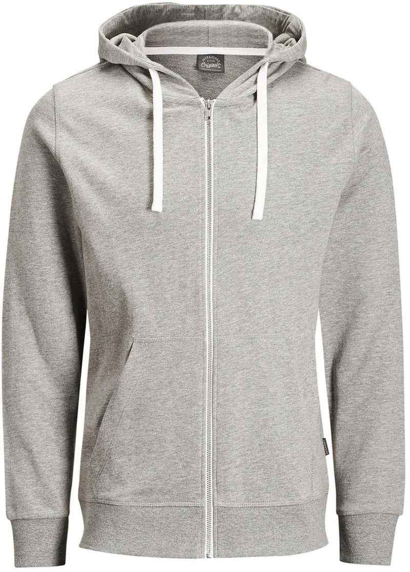 Jack & Jones Holmen Zip Front Sweat Hoodie Grey