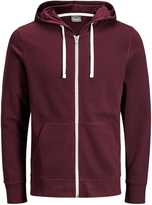 Jack & Jones Holmen Zip Front Sweat Hoodie Burgundy