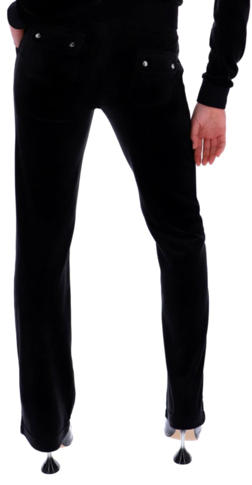 Juicy Couture Del Ray Velour Bottoms with Pockets Black