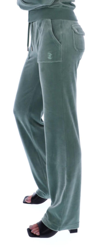Juicy Couture Del Ray Velour Bottoms with Pockets Green