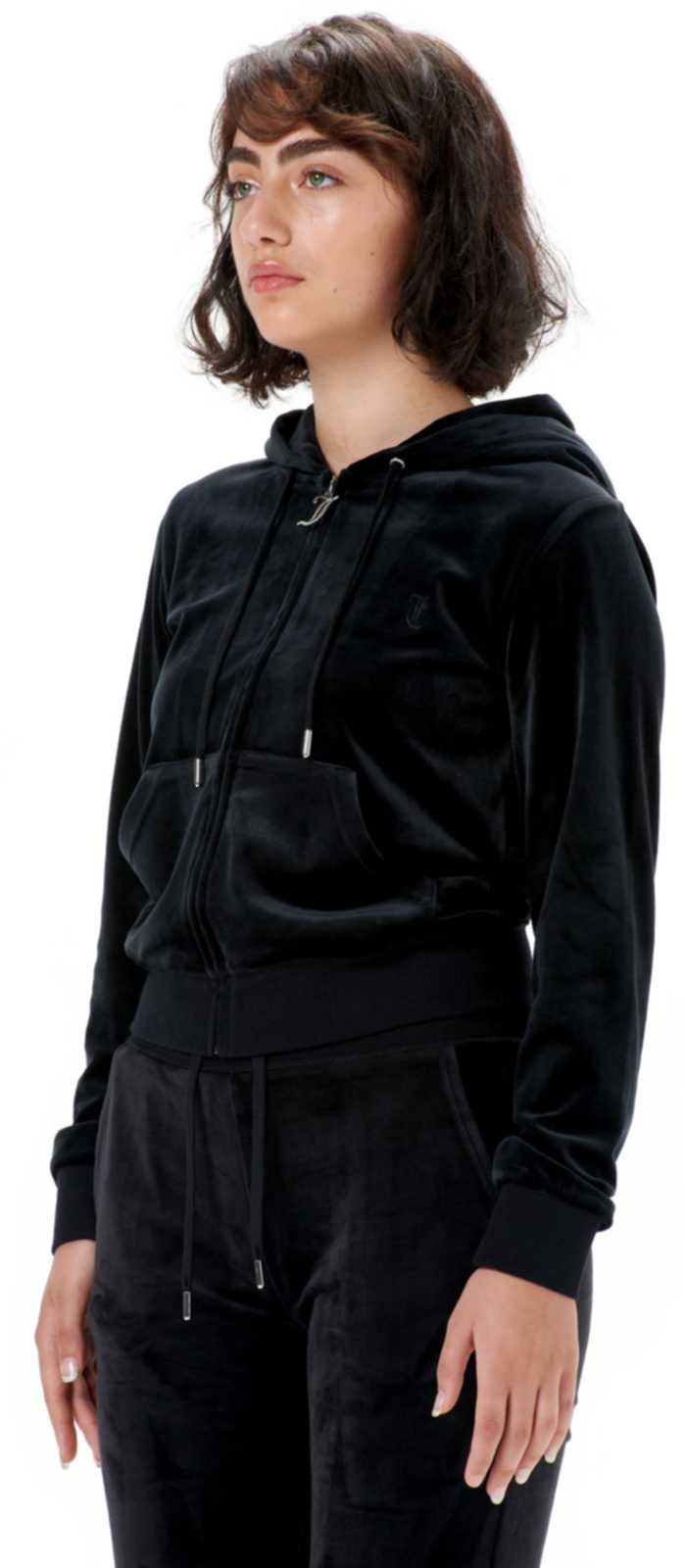 Juicy Couture Robertson Velour Zip Front Hoodie	Black
