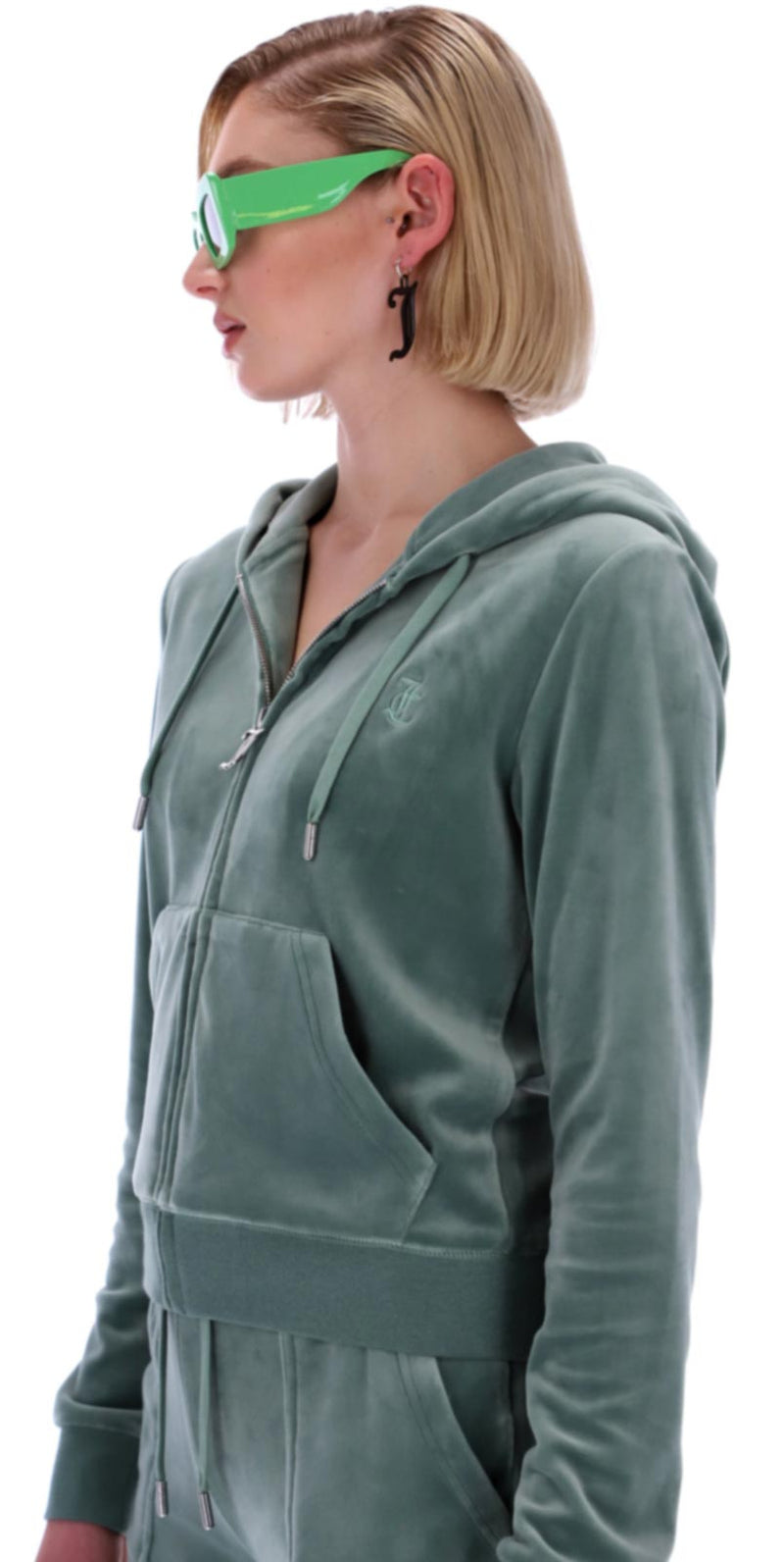 Juicy Couture Robertson Velour Zip Front Hoodie Green
