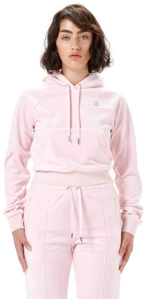 Juicy Couture Sally Diamante Velour Hoodie Pink