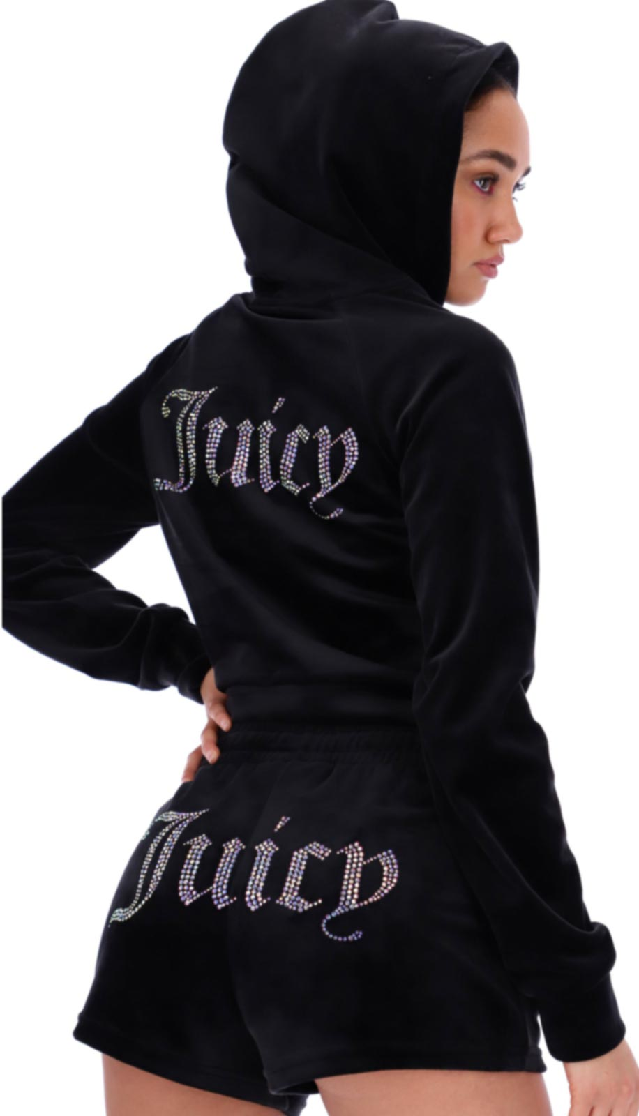 Juicy Couture Sally Diamante Velour Hoodie Black