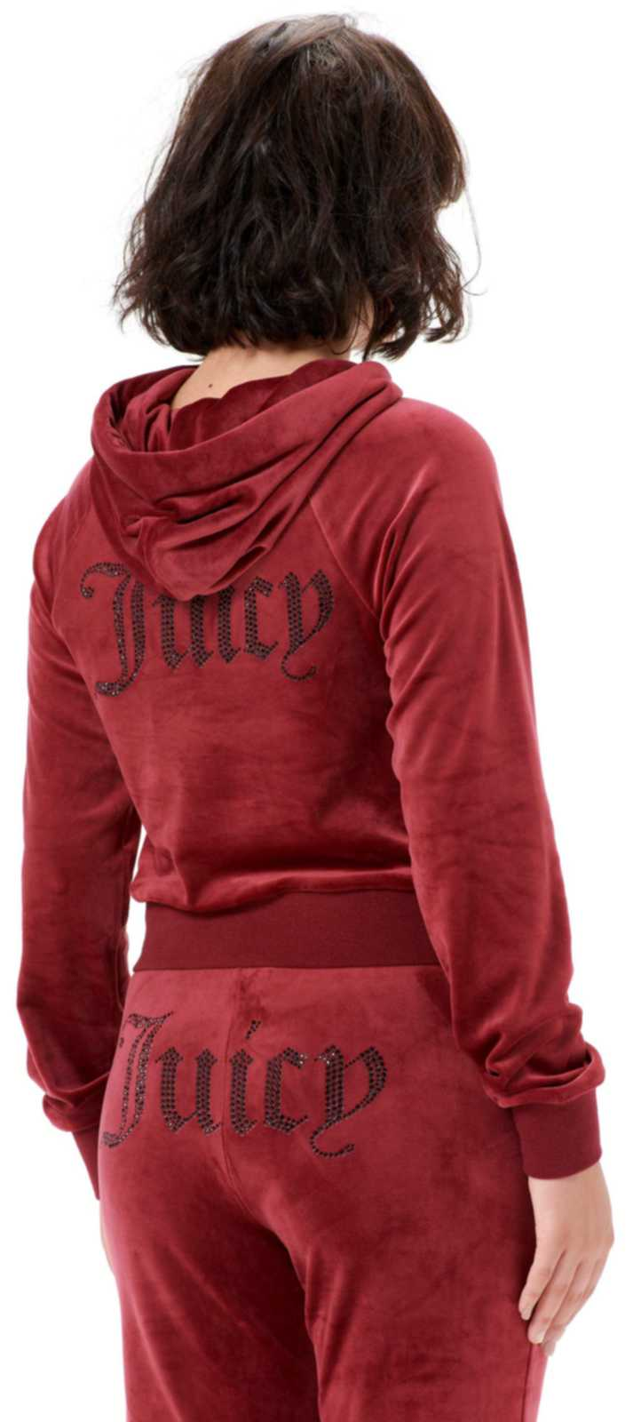 Juicy Couture Sally Diamante Velour Hoodie Burgundy