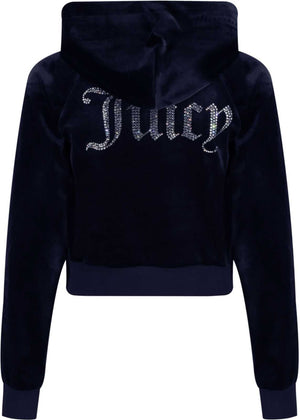 Juicy Couture Sally Diamante Velour Hoodie Navy