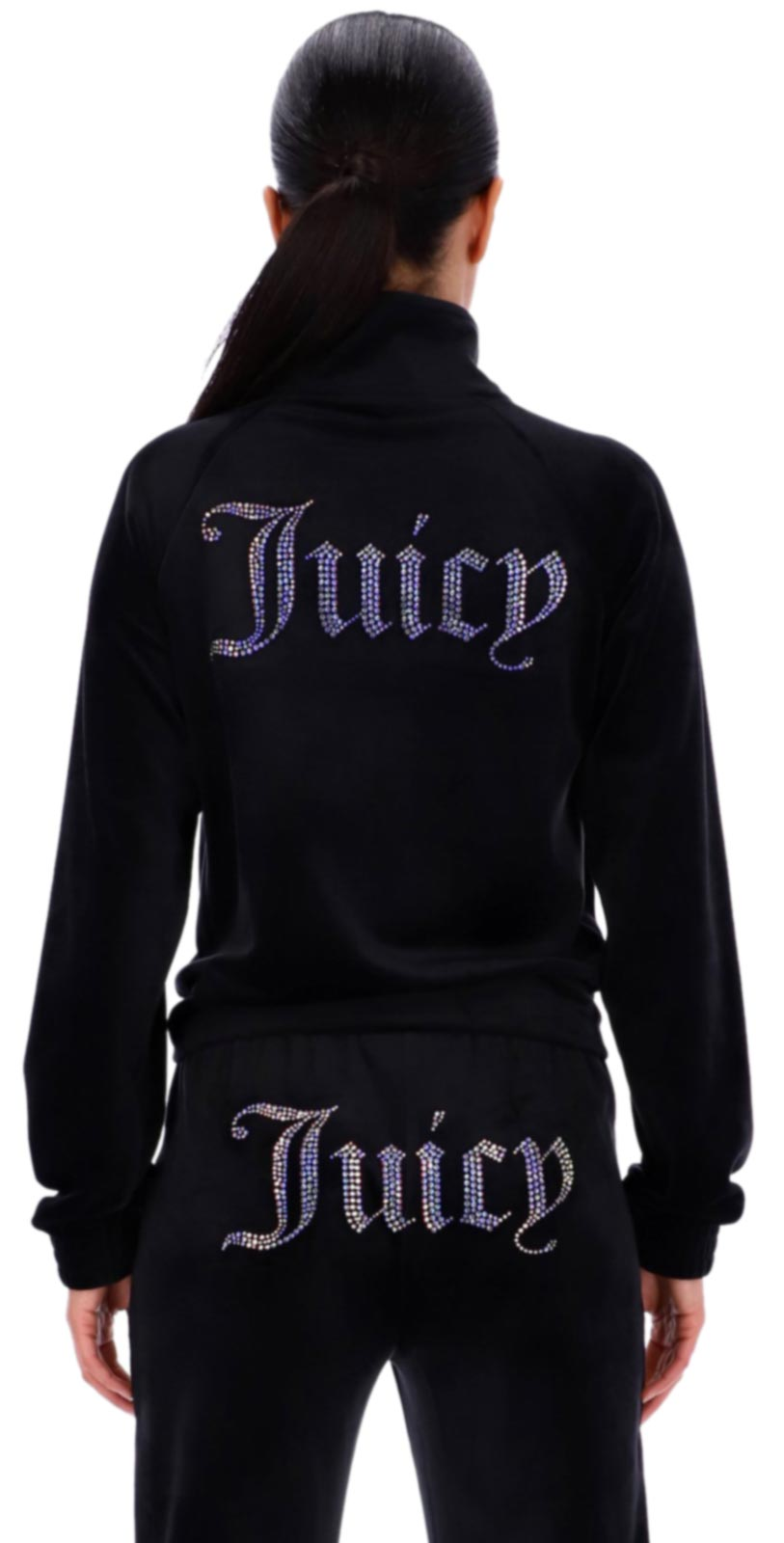 Juicy Couture Tanya Diamante Velour Track Top SS21 Black