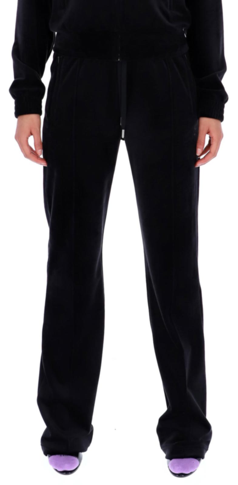 Juicy Couture Tina Velour Track Bottoms SS21 Black