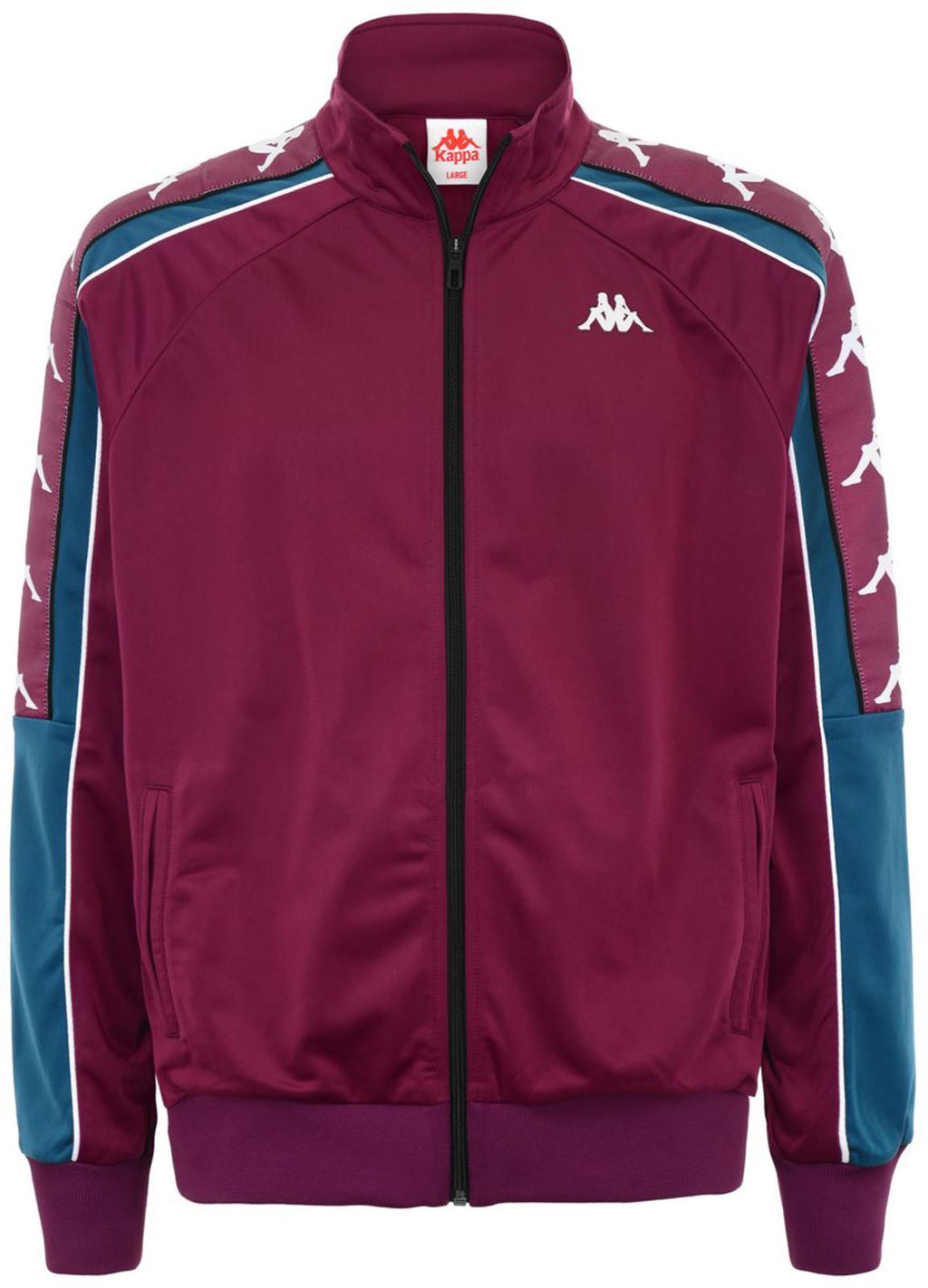 Kappa Ahran Zip Front Track Top Burgundy/Blue/White
