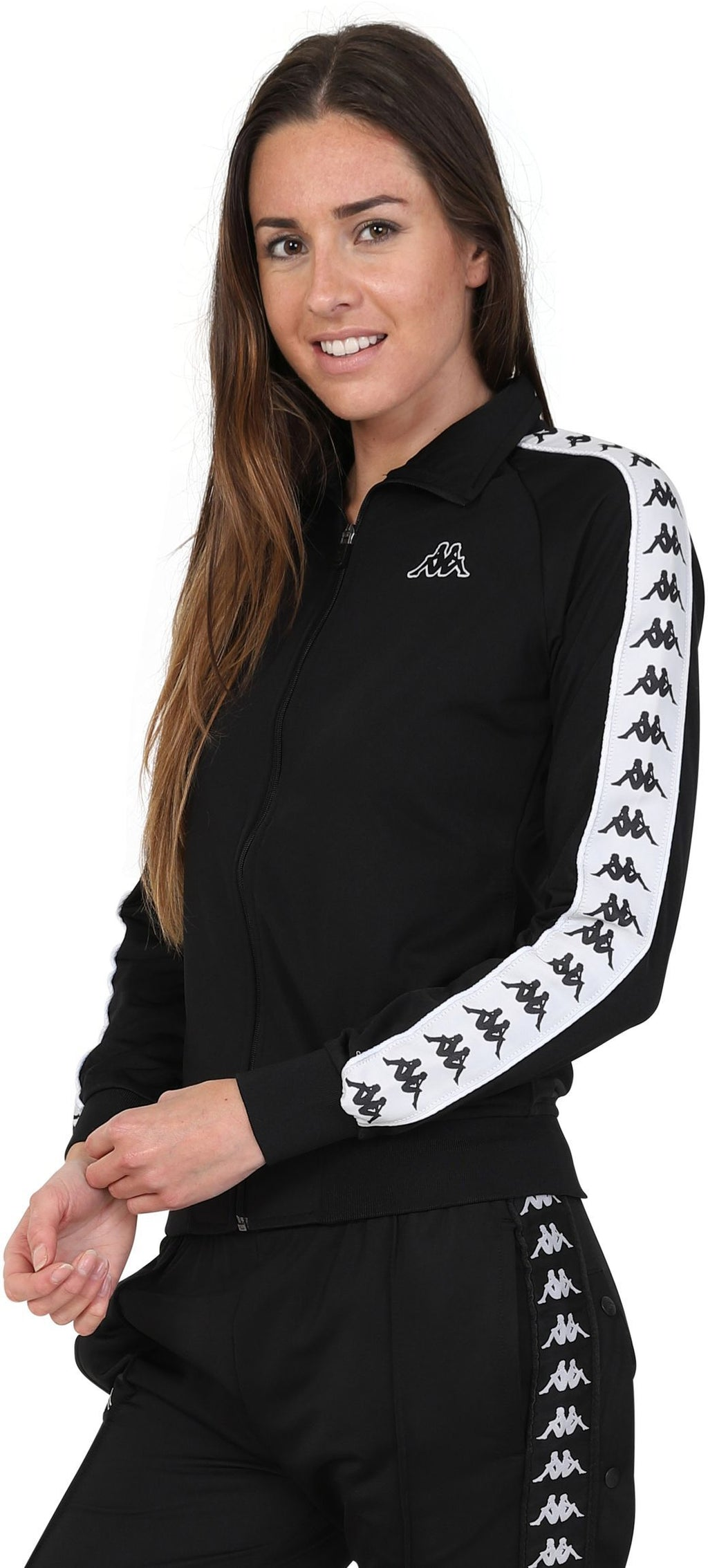 Kappa Women's Wanniston Zip Front Track Top Black