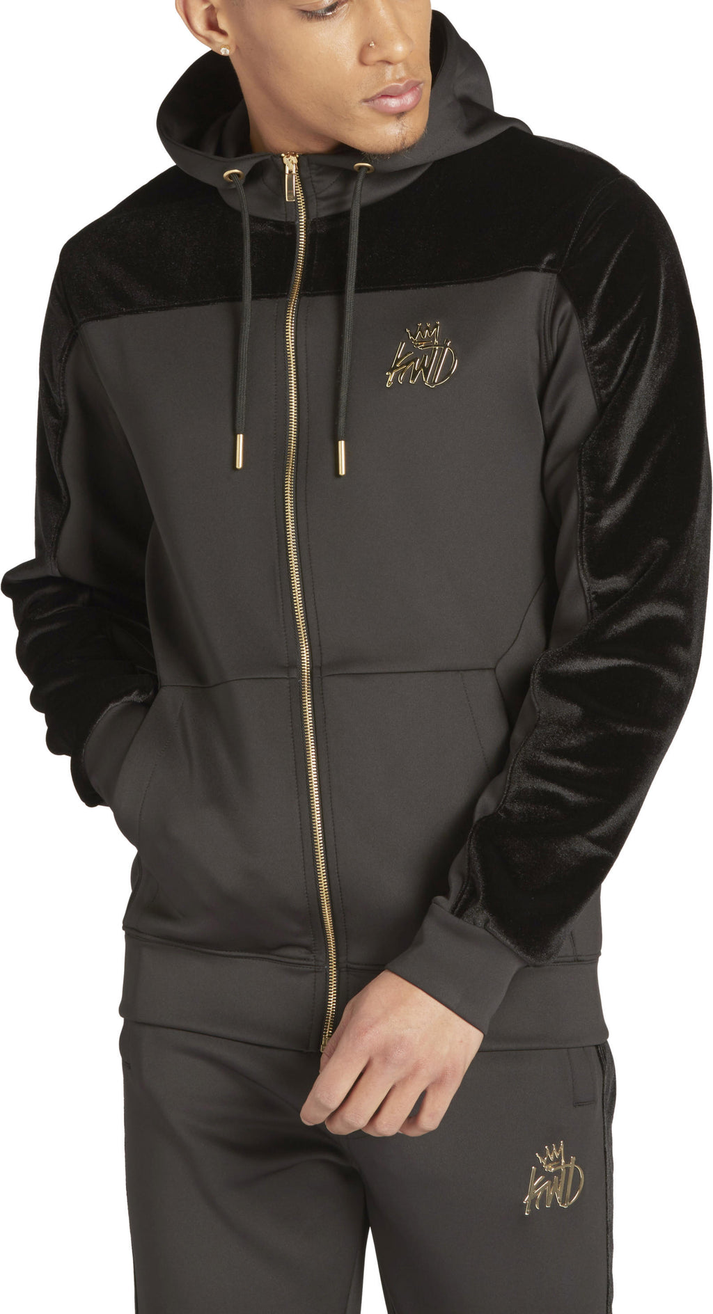 Kings Will Dream Searles Velour Panel Zip Front Poly Hoodie