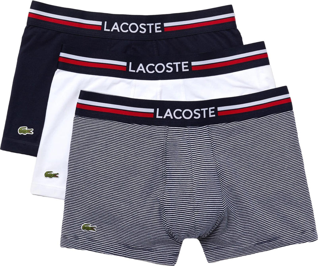 Lacoste 3 Pack Trunk Boxer Shorts Navy