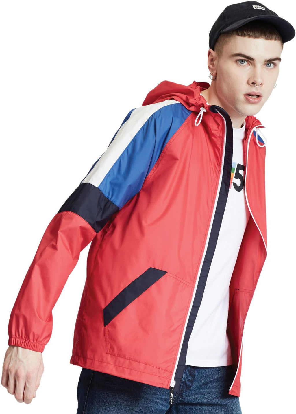 Levi's Colourblock Windrunner Lightweight Jacket Chinese Red