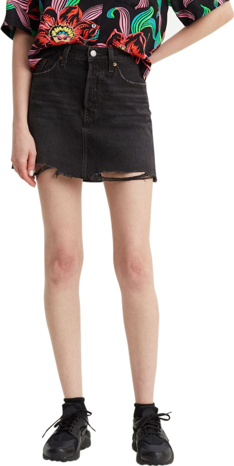 Levis Deconstructed Denim Mini Skirt Ill Fated Black - 26W