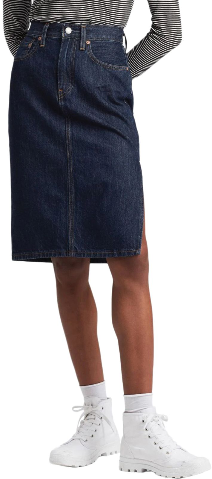 Levi's Side Slit Denim Skirt Blue