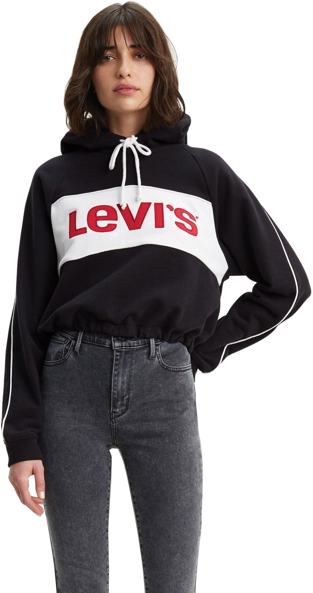 Levi's Women's Colour-Block Cinched Crop Hoodie Black